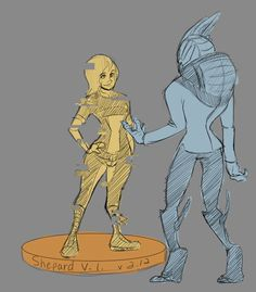 """zorayda-art: """"""""Hey… that turian's been standing there for like, an hour."""" """"What? That guy with the mangled-up face?"""" """"Yeah. He keeps playing the Shepard VI over and over. Must've cycled through the whole demo several times by now."""" """"Huh. Well, she..."""