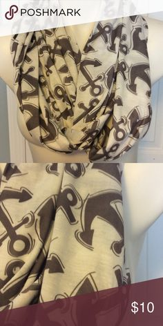 Anchor Infinity Scarf Anchor infinity scarf.  Anchors are gray on a white background.  Scarf is 10 1/2 inches wide and 70 inches total length. Cotton fabric. Accessories Scarves & Wraps