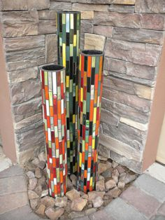 Mosaic garden pillars - Glass on PVC pipe by Peace Mosaics.this is my kind of yard art! Pvc Pipe Projects, Mosaic Projects, Outdoor Projects, Welding Projects, Mosaic Art, Mosaic Glass, Glass Art, Stained Glass, Mosaic Stones