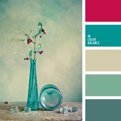 Los tonos suaves de colores celeste y turquesa combinan muy bien entre sí. Para resaltarlos usa el color frambuesa vivo.
