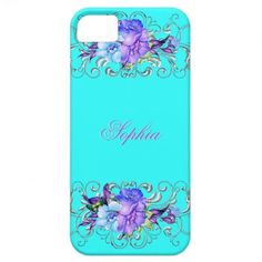 Elegant Teal Purple Flowers iPhone 5 Case