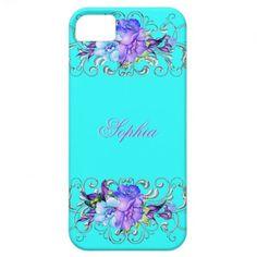Elegant Teal Purple Flowers iPhone 5 Case