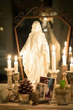 madonna with candles Blessed Is She, Blessed Mother Mary, Blessed Virgin Mary, Catholic Altar, Roman Catholic, Catholic Saints, Prayer Corner, Lady Of Lourdes, Home Altar
