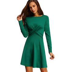 SheIn Women Office Dress Women Dress Elegant Casual Plain Color Crew Neck Long Sleeve A Line Pleated Mini Dress