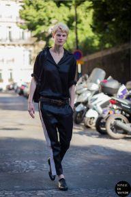 Saskia de Brauw, Dutch model, before Haider Ackermann fashion show. STYLE DU MONDE on Instagram @styledumonde, Pinterest, Twitter, Tumblr and Facebook