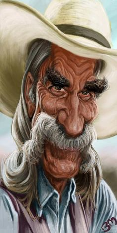 Sam Elliott Caricature by Bruno Munier. Sam Elliott, Cartoon Faces, Funny Faces, Cartoon Art, Caricature Artist, Caricature Drawing, Funny Caricatures, Celebrity Caricatures, Images Disney