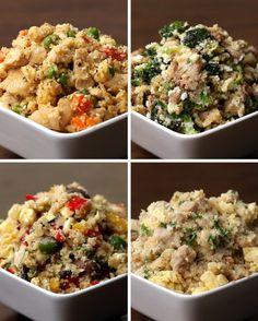 Quatro opções muito fáceis.   Estas quatro receitas de arroz de couve-flor são perfeitas se você está de dieta