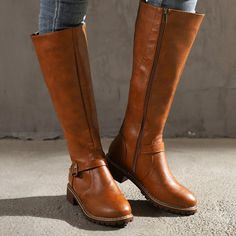 Wide Calf Boots, Long Boots, Flat Boots, Knee High Boots, Long Brown Boots, Knee Boot, Boot Over The Knee, Mens Boots Fashion, Fashion Edgy