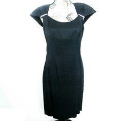 New Sz 8, LBD, Black Dress by David Rose Never worn black dress, size 8   |   59% Rayon, 41% Acetate  | Falls just below the knee   |   Rhinestones on the shoulders   |   (T60) David Rose Dresses Midi