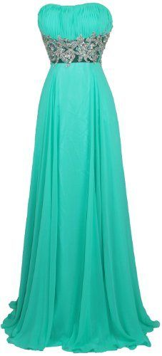 Meier Women's Strapless Embroidery Sheer Waist Chiffon Gown