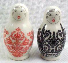 Salt Pepper Shaker Set Nested Dolls Matryoshka Ceramic Excellent | eBay