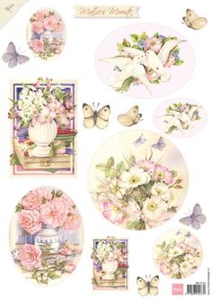 Marianne Design Cut out sheet Mattie's mooiste flowers - Flowers Vintage Tags, Vintage Labels, Shabby, Decoupage Plates, Paper Art, Paper Crafts, Decopage, Atc Cards, Greeting Cards