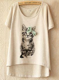 Grey Short Sleeve Cat Pattern T-shirt - Sheinside.com