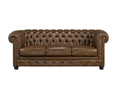 TRADITIONAL TUFTED BROWN LEATHER LIVING ROOM.  This 100% leather living room features a classic rolled arm frame, beautifully tufted inside back, buttoned front rail and nailhead arm trim. The set is covered in a beautiful, rich, brown coloured leather.