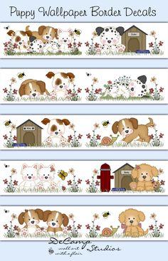Puppy Dog Wallpaper Border Wall Decals Childrens Room Art Decor #decampstudios