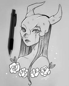 Devil May Stop Crying by larienne on DeviantArt Dark Art Drawings, Pencil Art Drawings, Fantasy Drawings, Art Drawings Sketches Simple, Cool Drawings Tumblr, Tumblr Sketches, Hipster Drawings, Easy Drawings, Arte Sketchbook