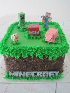 Minecraft grass block birthday cake - Oreo and Teddy Graham crumbs Less figures on top. Skarlett instead of minecraft. Minecraft Birthday Cake, Diy Birthday Cake, Birthday Fun, Birthday Parties, Easy Minecraft Cake, Birthday Cakes For Boys, Minecraft Cake Designs, Minecraft Birthday Decorations, Minecraft Cake Toppers