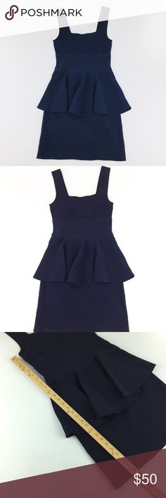 Alannah Hill Blue Bodycon Peplum Dress US Sz 8 This is a Navy Blue Peplum Bodycon Dress Made By Alannah Hill.  The tag says size 10 but that is Australian sizing, it is a US Size 8.  The fabric is rather thick and stretchy. alannah Hill Dresses Midi