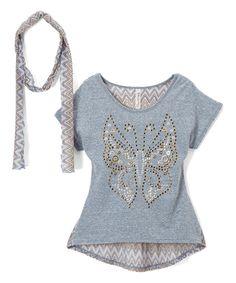 Loving this Denim Butterfly Hi-Low Top & Scarf - Kids & Tween on #zulily! #zulilyfinds