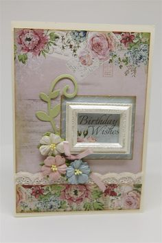 I used a piece of patterned paper from the pad for the first layer of todays' card, and a strip of paper left on my desk from yesterdays card ( also from the pad) for a bord… Rose Cottage, I Card, Card Ideas, Numbers, Desk, Paper, Birthday, Projects, Crafts
