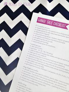 michelle lea designs: Garage Sale Checklist