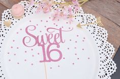 Sweet 16 Cake topper by RusticDaisyDesigns on Etsy