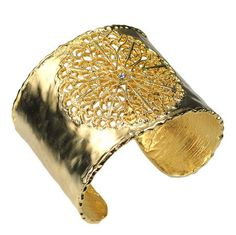 Hammered Gold Cuff with Filigree Design by Be-Je Designs $120.00