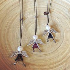 Macrame Rings, Macrame Jewelry, Macrame Bracelets, Angel Necklace, Necklace Charm, Minimal Style, Minimal Fashion, Evil Eye Ring, Metal Beads