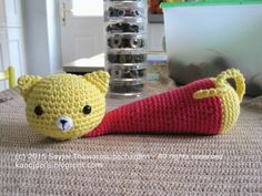 Sayjai amigurumi crochet patterns ~ K and J Dolls / K and J Publishing: Yellow Cat - Wrist Rest - a free Amigurumi crochet pattern