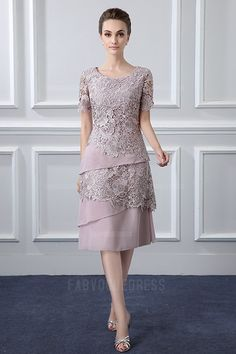 Sheath/Column Scoop Neck Tea-length Mother of the Bride Dress With Lace Tiered Best Formal Dresses, Mob Dresses, Dresses Online, Short Dresses, Fashion Dresses, Party Dresses, Fashion Fashion, Mother Of Bride Outfits, Mother Of Groom Dresses