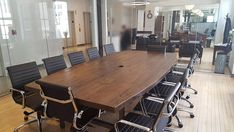 Solid wood conference table, boat shape (pic 1) made with reclaimed wood 2.5 inches thick and steel