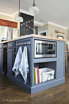 55 Smart Innovative Kitchen Island Ideas and Designs to Makeover Your Home - Contemporary Modern Kitchen Small Kitchen Ideas, DIY, Kitchen Remodel - Designblaz Kitchen Island Decor, Kitchen Redo, New Kitchen, Kitchen Storage, Awesome Kitchen, Kitchen Island Microwave, How To Design Kitchen Island, Cookbook Storage, Microwave Cabinet
