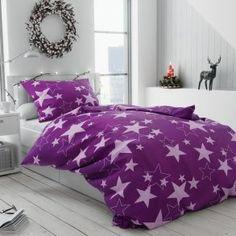 Krepové povlečení bílé fialové hvězdy hvězdičky vánoční moderní vánoce Comforters, Blanket, Stars, Retro, Bed, Design, Home Decor, Creature Comforts, Quilts