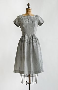 vintage 1960s grey gingham button day dress