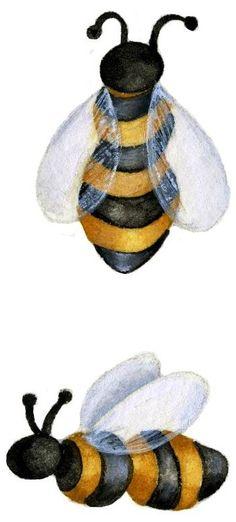 Bees illustration art by Jennifer Lambein via www.Facebook.com/JenniferLambeinStudioPetite