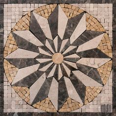 "Marble Medallion Style 1 12""x12"" Tumbled, Materials: Emperador Cafe New Emperador Light And Beige Marble"