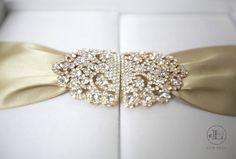Ivory & Gold luxury wedding invitation with crystal embellishments designed by Lela New York