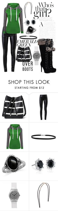 """""""Emerald Strip Mashup"""" by tyler-brea ❤ liked on Polyvore featuring Lauren Ralph Lauren, Helmut Lang, WithChic, BillyTheTree, Blue Nile, Mrs. President & Co. and emeraldgreen"""