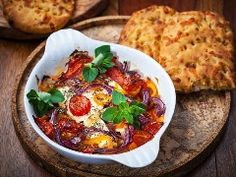 Salsa Baked Goat Cheese and Chips