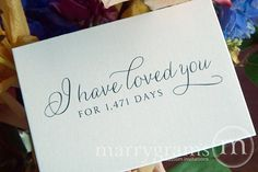 Wedding Card to Your Bride or Groom - I Have Loved You for..... Days - Love Card Perfect for Wedding, Valentines Day or Anniversary via Etsy