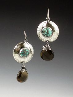 Turquoise and Smoky Topaz Earrings