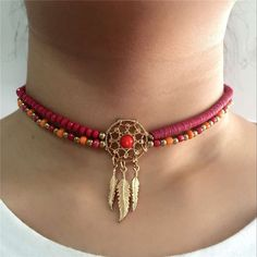 Fashion Dream Catcher Jewelry - Meticulously Handmade, Beaded Feather Collar Chocker Necklaces, 4 Variants