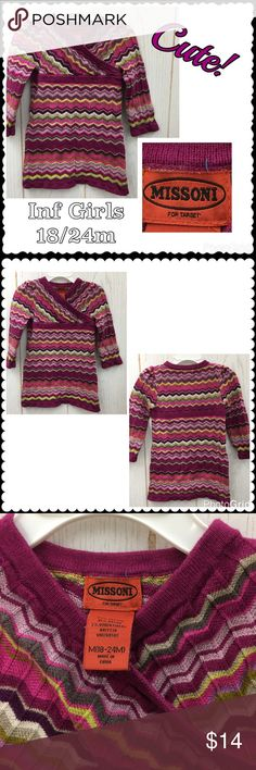 Cute sweater dress by MISSONI for Target Inf Girls Cute sweater by MISSONI for Target. Pink, Purple, Green print. Wrap style neckline. Long sleeves. Cotton/Rayon Sz 18-24 months Missoni for Target Dresses Casual