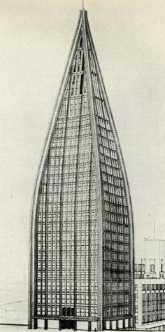 Bruno Taut, Entry to the Chicago Tribune Competition, 1922 Movement In Architecture, Architecture Drawings, Classical Architecture, Futuristic Architecture, Amazing Architecture, Contemporary Architecture, Interior Architecture, Bruno Taut, Hole In The Sky