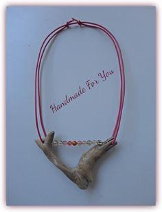 driftwood necklace , tourmalinis beads, leather www.facebook.com/gmhandmade