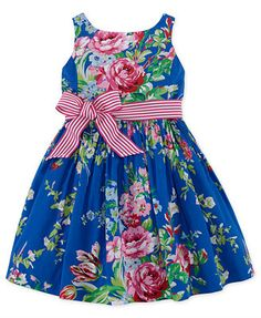 Ralph Lauren Little Girls' Sateen Floral Dress