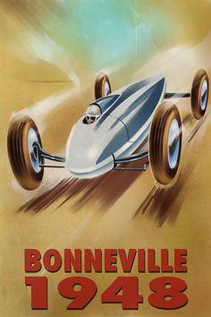 bonneville carteles de coches vintage