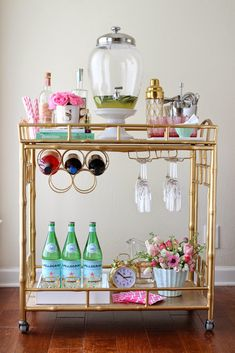 Spring Bar Cart Styling: a mint, pink and gold bar cart display for spring!