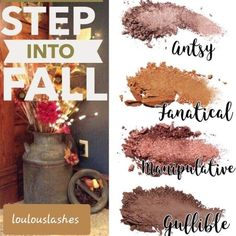 Younique Pressed Shadow Step Into Fall Quad Palette Fall Eyeshadow Looks, Fall Makeup Looks, Contour Makeup, Makeup Eyeshadow, Contouring, Younique Eyeshadow, Eyeshadows, Quad, Make Up Organiser