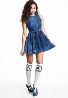 Denim Overall Skater Dress